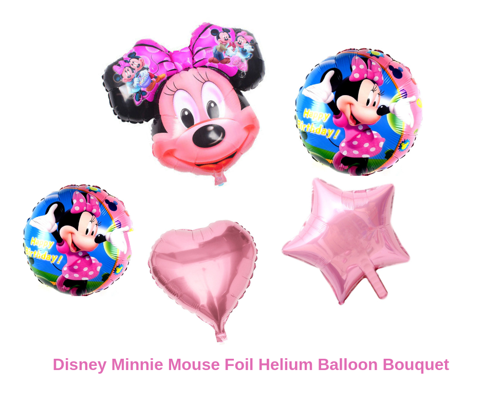 Minnie Mouse 5pc Bouquet Birthday Party Foil Balloons Decorations