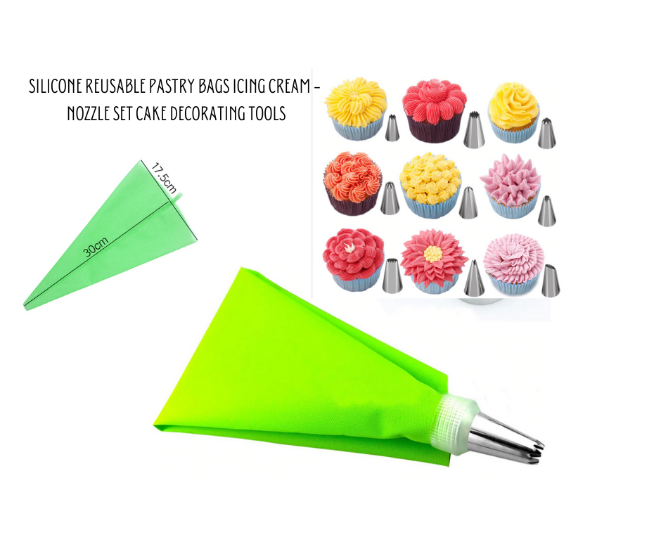 Silicone Reusable Pastry Bags Icing Cream - Nozzle Set Cake Decorating Tools